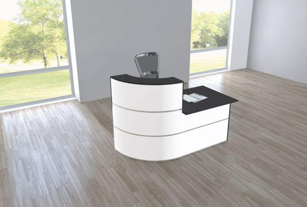Design Empfangstheke Rezeptionstheke Cento 2, 1,8m Weiß Anthrazit