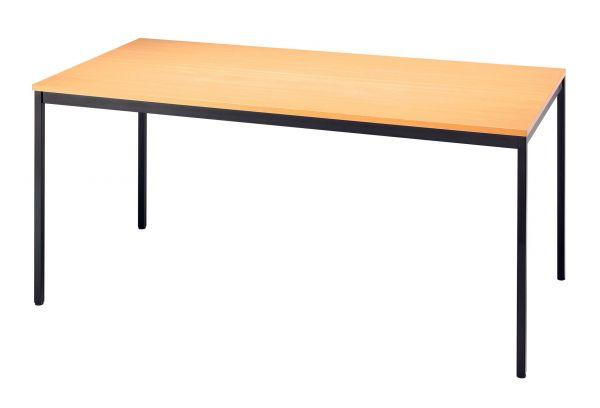 Besprechungstisch 160x80cm Buche 4-Fuß Gestellfarbe: Schwarz