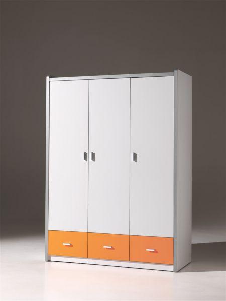 Kleiderschrank 3-trg. Bonny, Weiß Orange