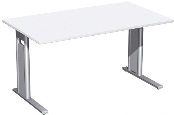 Schreibtisch, höhenverstellbar, 140x80cm, Weiß / Silber