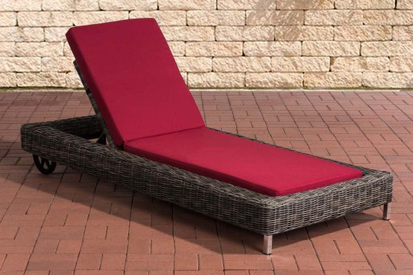 Sonnenliege Rosso 5mm Rubinrot, grau-meliert | Garten > Gartenmöbel > Gartenliegen | CLP