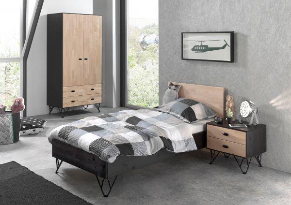 Set William best. aus: Einzelbett, Nachtschrank, Kleiderschrank, Kiefer massiv, schwarz / natur