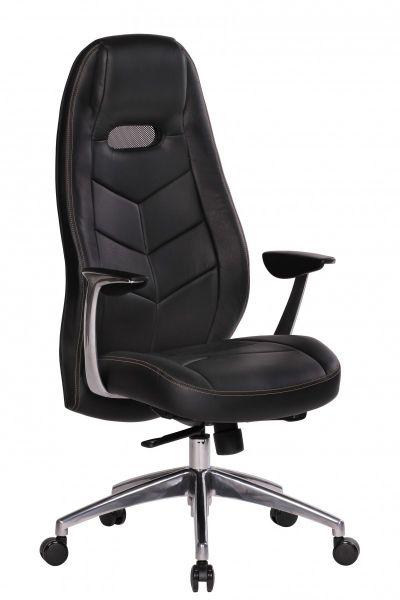 BARI Bürostuhl, Schreibtischstuhl, Chefsessel, Echtleder Schwarz