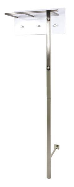 Wandgarderobe, Edelstahloptik - weiß, Stahl, MDF, 60x30x192cm