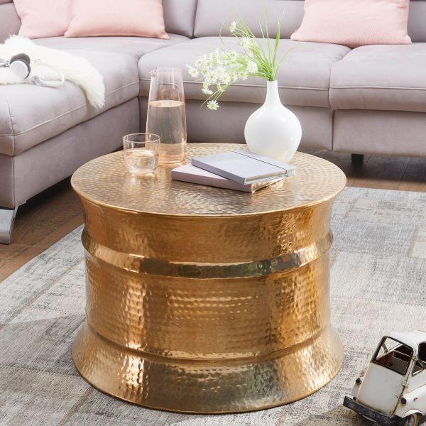 Couchtisch KARAM 62x41x62cm Aluminium Gold Beistelltisch orientalisch rund
