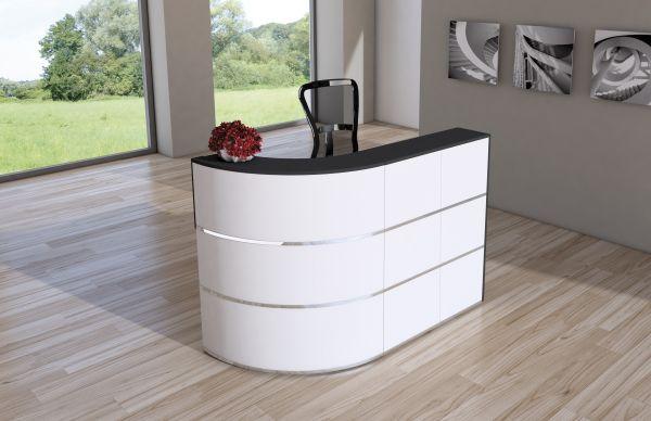 Design Empfangstheke Rezeptionstheke Cento 1, 180x80cm Weiß Anthrazit