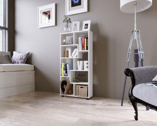 """Regal """"PISA C"""" 123x60x20cm, Vertikal, 8 Fächer, Weiß, Melamin beschichtet"""