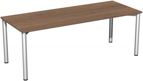 Konferenztisch Rundfuß, 200x80cm, Nussbaum Silber | Büro > Bürotische > Konferenztische | Silber | Nussbaum | Geramöbel