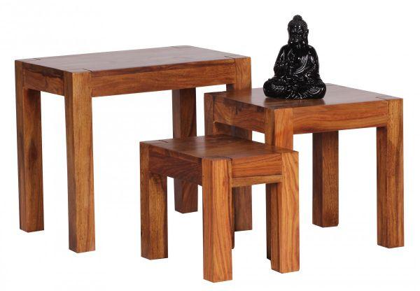 Sheesham 3er Set Satztisch, Beistelltisch, Massiv-Holz, Dunkel-Braun