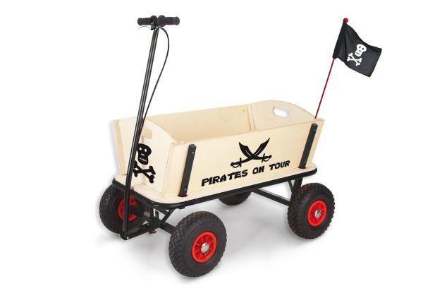 Bollerwagen 'Pirat Jack' mit Bremse, natur / pappel