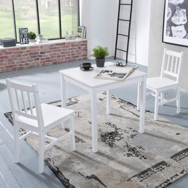 Essgruppe EMIL 3 teilig Kiefer-Holz weiß Landhaus-Stil, 70 x 73 x 70 cm