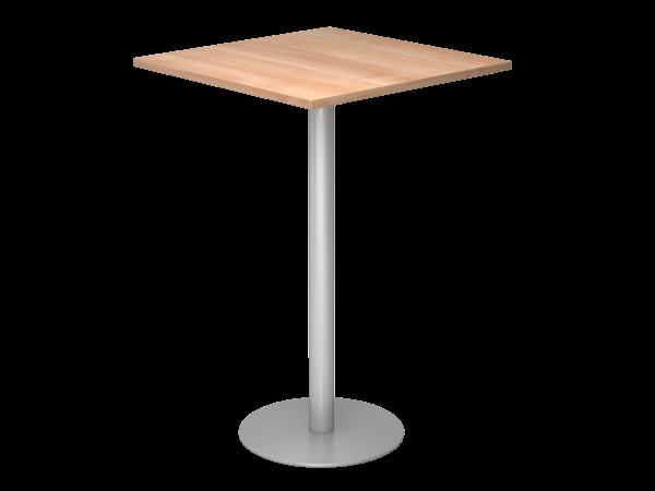 Stehtisch STH08 80x80cm, Nussbaum / Silber