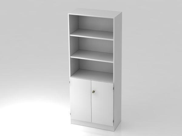 Regal 6770 5 OH, 2 OH Türen, Sockelblende SG Weiß / Weiß