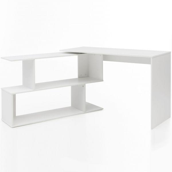 Design Schreibtisch mit Ablage Regal Weiß Matt 119 x 78 x 49 cm
