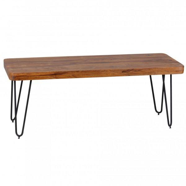 Esszimmer Sitzbank, Landhaus Stil, Massiv-Holz, Sheesham, 120 x 45 x 40 cm