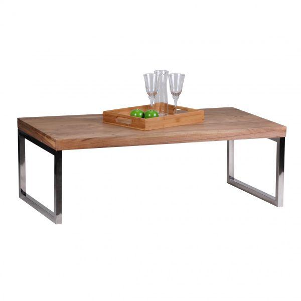 Couchtisch, Wohnzimmer-Tisch, 120 cm breit Massiv-Holz Akazie, Dunkel-Braun
