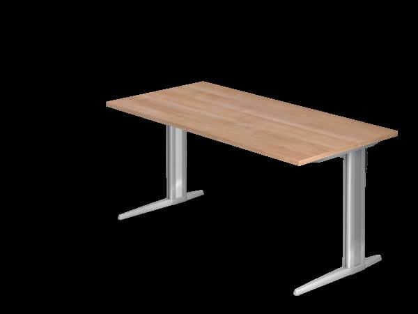 Schreibtisch C-Fuß 160x80cm Nussbaum Gestellfarbe: Silber