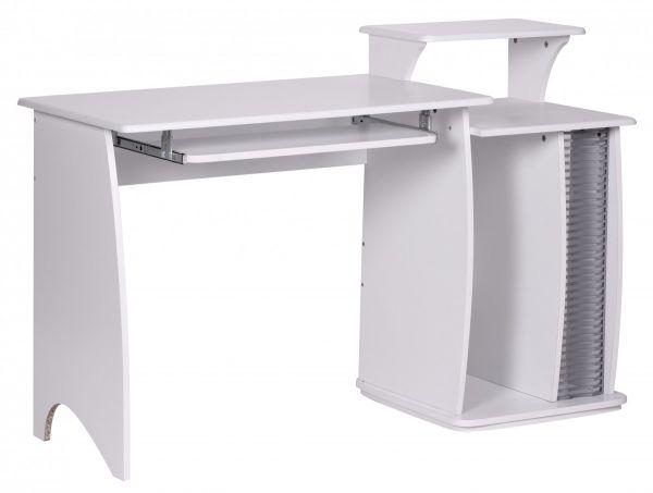 Computertisch FABIAN Weiß 130 x 87 x 55 cm mit Tastaturauszug & CD Ablage
