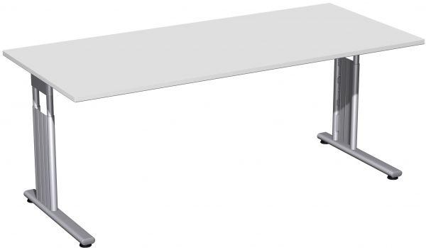 Schreibtisch, höhenverstellbar, 180x80cm, Lichtgrau / Silber