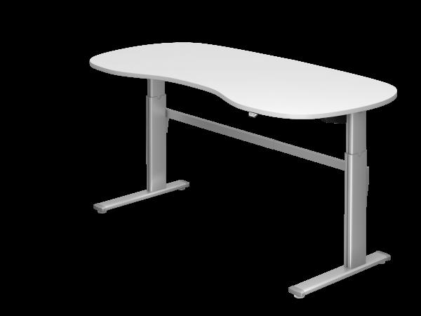 Sitz-Steh-Nierentisch elektrisch XM20 200x100cm Weiß Gestellfarbe: Silber