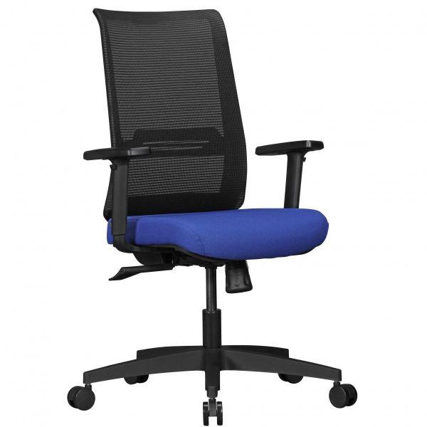Bürostuhl RENE mit Stoff-Bezug in Schwarz / Blau mit Netz-Rückenlehne