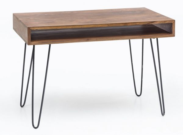 Schreibtisch BAGLI braun 110 x 60 x 76 cm Massiv Holz Laptoptisch Sheesham Natur | Landhaus-Stil Arb