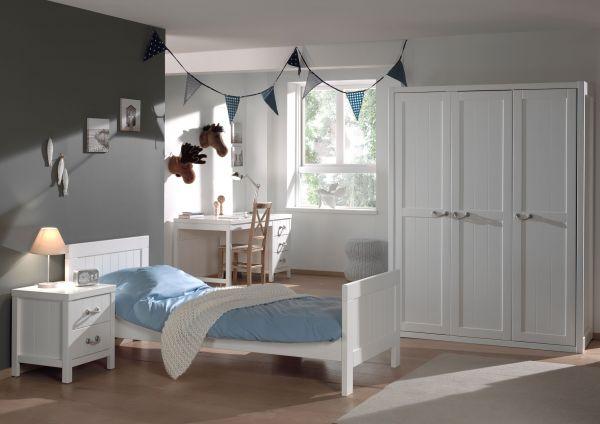Set Lewis best. aus: Einzelbett, Nachtkonsole, Schreibtisch und Kleiderschrank 3-trg., Weiß