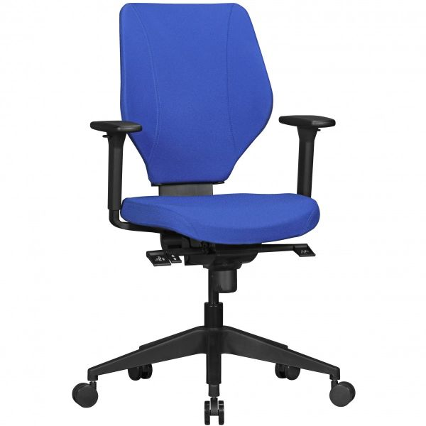 Bürostuhl COLLIN mit Stoff-Bezug in Blau, Synchromechanik & Armlehnen