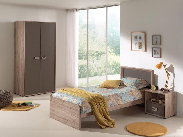 Set Emiel best. aus: Einzelbett, Nachtkonsole, Kleiderschrank, Eiche San Remo Dekor