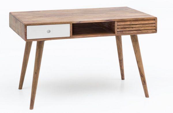 Schreibtisch REPA weiß 120 x 60 x 75 cm Massiv Holz Laptoptisch Sheesham  Natur | Landhaus-Stil Arbei