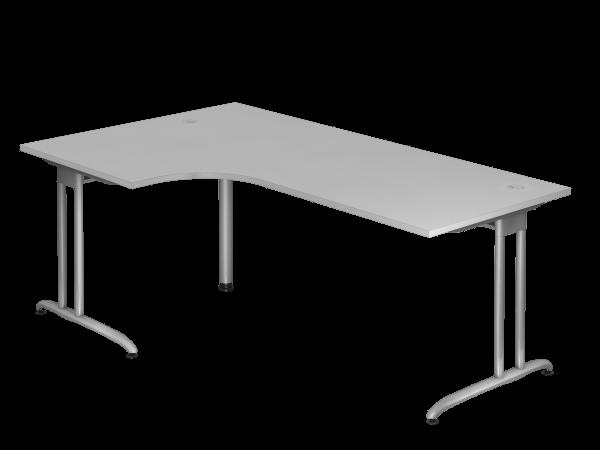 Winkeltisch C-Fuß 200x120cm 90° Grau Gestellfarbe: Silber