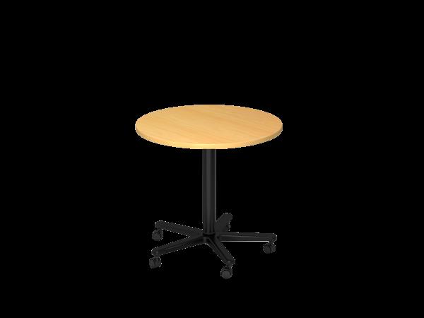Säulenhubtisch rund, 80cm, Buche / Schwarz