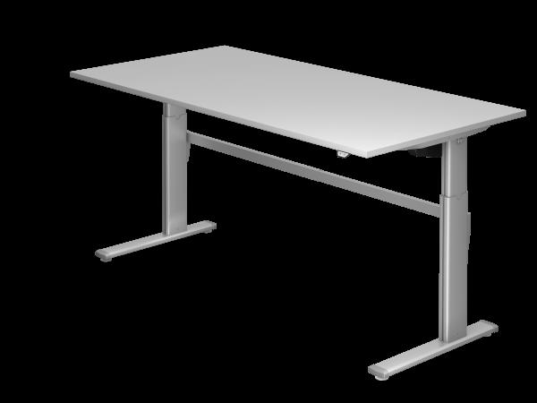 Sitz-Steh-Schreibtisch elektrisch 200x100cm Grau Gestellfarbe: Silber