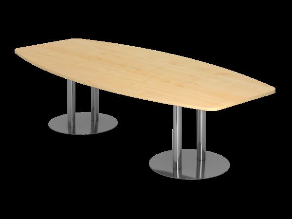 Konferenztisch KT28S 280x130cm Säulenfuß Ahorn Gestellfarbe: Chrom
