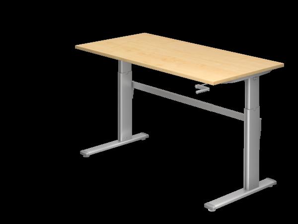 Sitz-Steh-Schreibtisch Kurbel XK16 160x80cm Ahorn Gestellfarbe: Silber