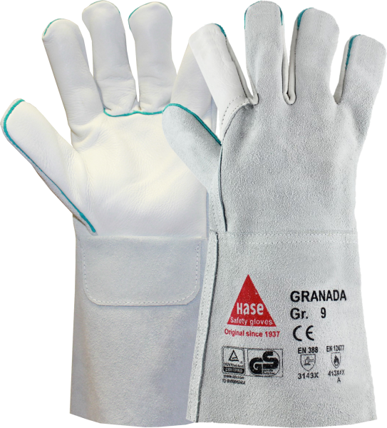 6 Paar - GRANADA-long, 5 Finger -Sicherheitshandschuhe für Schweisser