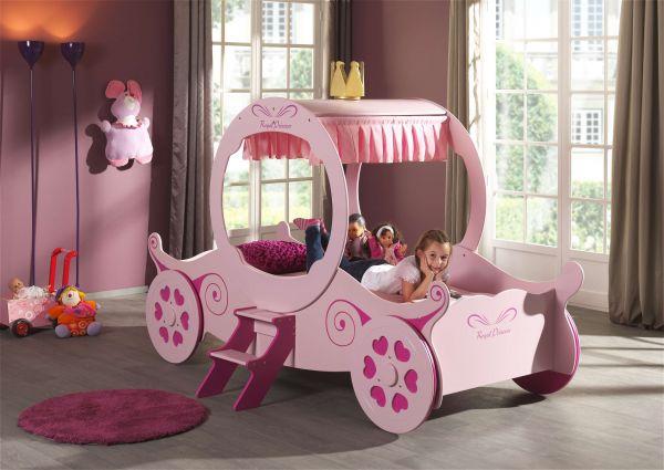 Kinderbett Kutschenbett 90x200 cm, rosa pink