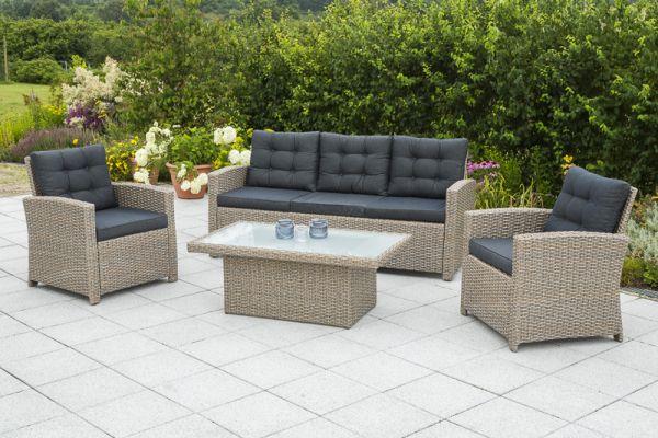 Salzano Lounge Set, Geflecht: graubraun Textil: anthrazit