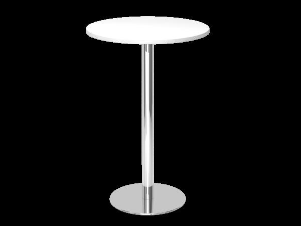 Stehtisch STH08 rund, 80cm, Weiß / Chrom