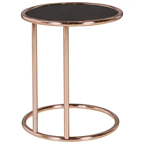 Design Beistelltisch Metall Glas O 45 Cm Schwarz Kupfer