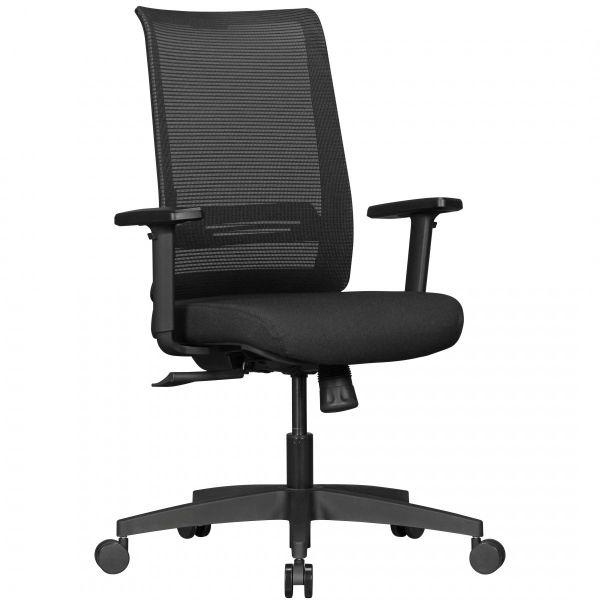 Bürostuhl RENE mit Stoff-Bezug in Schwarz mit Netz-Rückenlehne