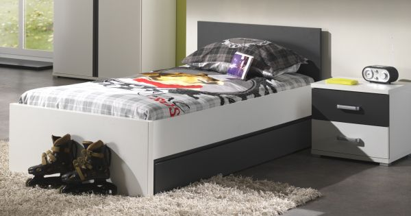 Set Josh best. aus Einzelbett 90x200 cm, Bettschublade und Nachtkonsole, Weiß/Anthrazit