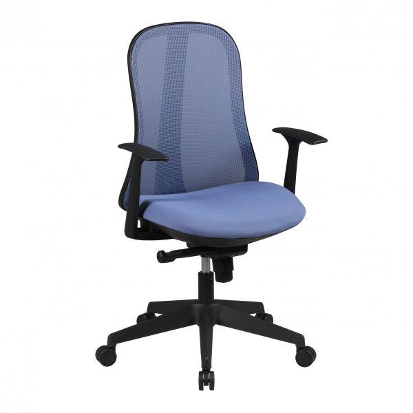 STYLE Bürostuhl, Schreibtischstuhl mit Synchronmechanik, Stoff- und Netzbezug, Blau