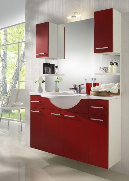 Waschbeckenunterschrank mit Waschbecken, weiss-rot, Adelano
