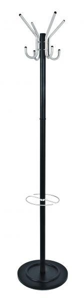 Garderobenständer, schwarz - Alu, Stahlrohr, 182cm