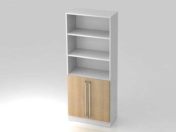 Regal 5OH, 2 Türen, Sockelblende CE Weiß / Eiche