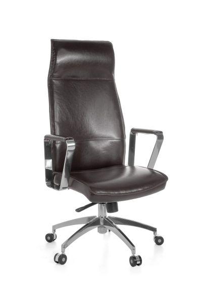 VERONA Bürostuhl, Schreibtischstuhl, Chefsessel, Synchronmechanik, Echtleder Braun