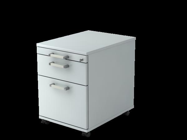 Rollcontainer AC20 58cm, 1 Schub, 1 HR, Schloss, CE Grau