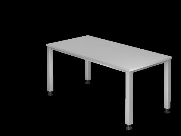 Schreibtisch QS16 4Fuß eckig 160x80cm Grau Gestellfarbe: Silber