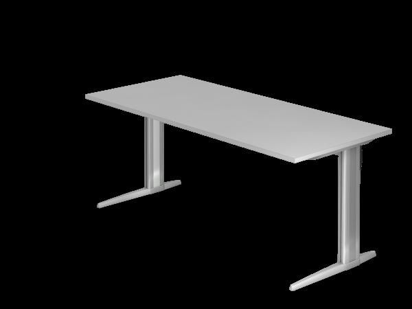 Schreibtisch XS19 C-Fuß 180x80cm Serie Grau Gestellfarbe: Silber
